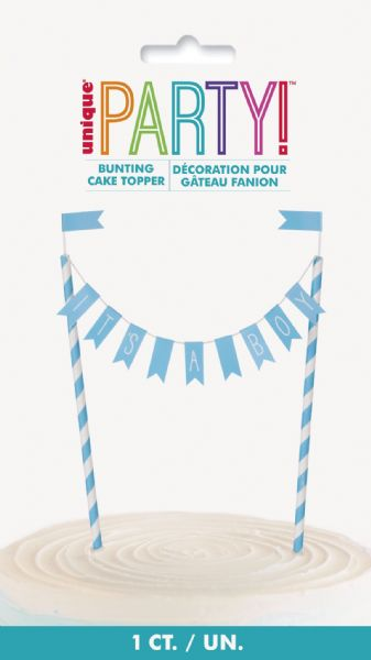 Blue Hearts Baby Shower It's A Boy Bunting Cake Topper